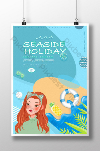 Illustration wind seaside holiday poster Template PSD