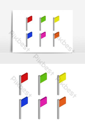 изометрический флаг, иллюстрированный в векторе на белом фоне Графические элементы шаблон EPS