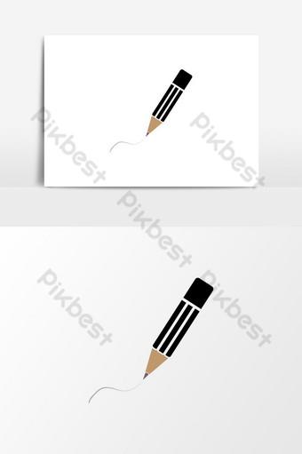 icono de lápiz dibujado a mano elemento de gráficos vectoriales logotipo de lápiz de color negro aislado en blanco Elementos graficos Modelo EPS