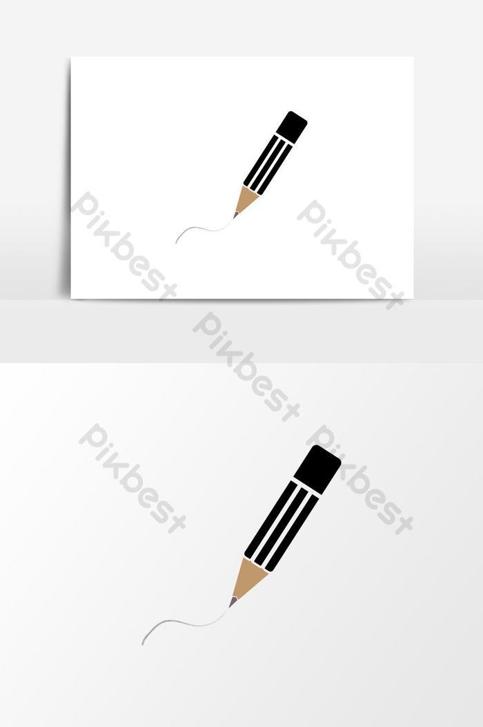 elemen grafik vektor ikon pensil yang dilukis dengan tangan logo pensel warna hitam yang diasingkan pada warna putih
