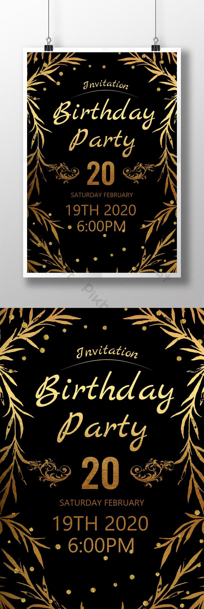 Black Gold Birthday Party Invitation   PSD Free Download - Pikbest