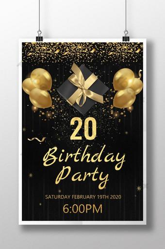 Invitation de fête d'anniversaire en or noir Modèle PSD