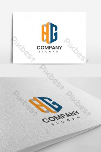 Plantilla de diseño de logotipo de letra hg azul dorado Modelo AI