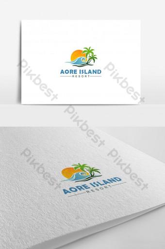 Makulay na template vector logo ng isla Simpleng modernong Natatanging tropical beach logo Template AI