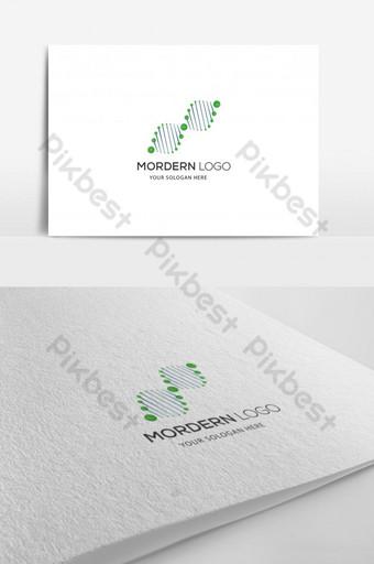 color verde ciencia y medicina símbolo creativo diseño de logotipo símbolo de adn icono de adn Modelo AI