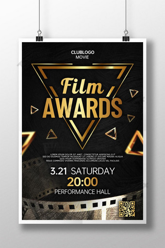 poster upacara penghargaan film gaya emas hitam Templat PSD