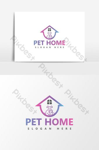 plantilla de diseño de logotipo de casa de mascotas inteligente Elementos graficos Modelo AI