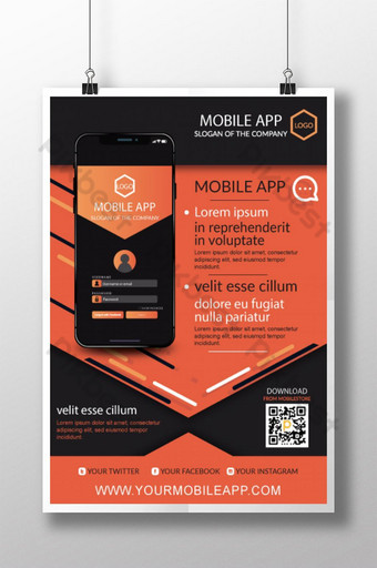 plantilla de volante de aplicación de teléfono móvil simple Modelo AI