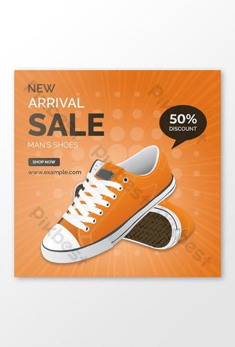 Meilleur vendeur de chaussures offre de produit Instagram post design Modèle PSD