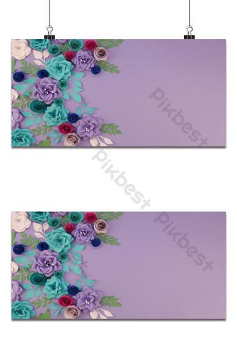 Surtido de fondo floral con marco floral y fondo morado foto gratis Fondos Modelo AI