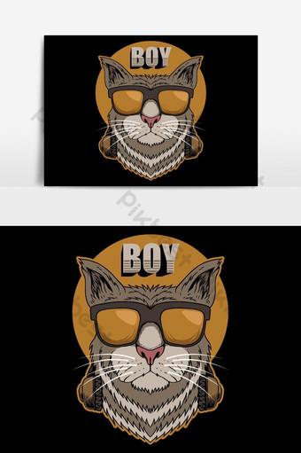 ilustrasi vektor headphone anak kucing Elemen Grafis Templat EPS