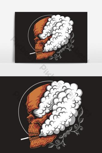 Ilustración de vector de humo de cráneo Elementos graficos Modelo EPS