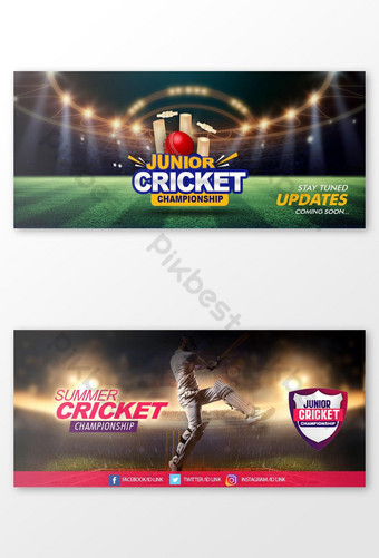 sepanduk media sosial kriket psd Templat PSD