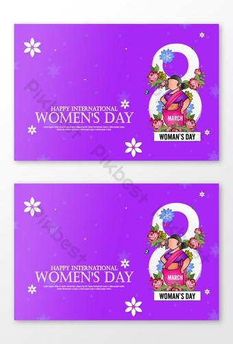 Modèle de carte florale de jour des femmes heureux Modèle AI