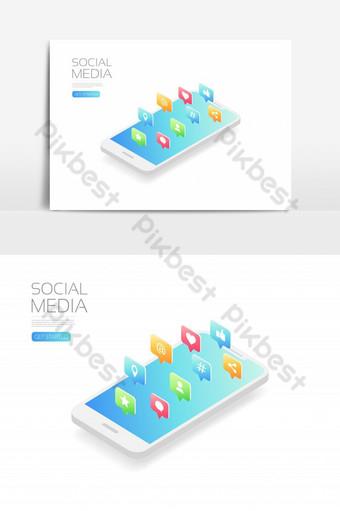 Smartphone isométrico con icono de redes sociales aislado sobre fondo blanco. Elementos graficos Modelo EPS