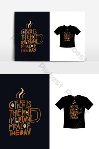 Kawa najważniejsza dnia t shirt projektuje wektor z makietą Elementy graficzne Szablon EPS