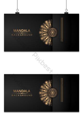 خلفية ناقلات ماندالا الفاخرة مع نمط الأرابيسك الذهبي خلفيات قالب PSD