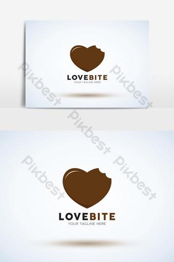 amor, mordida, corazón, logotipo, diseño, vector, plantilla Elementos graficos Modelo AI