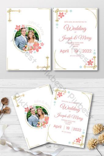 Carte d'invitation de mariage de style floral violet rose Modèle AI