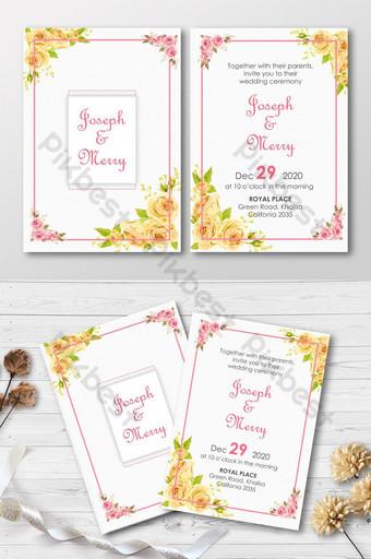 template undangan pernikahan warna kuning dengan template kartu undangan bingkai emas ai Templat PSD