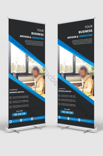 Business Service Roll Up Banner Design Template AI