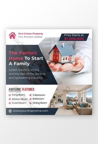 Bannière de médias sociaux de vente immobilière ou modèle de flyer carré Modèle PSD