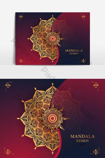 خلفية ماندالا الفاخرة مع النمط الذهبي النمط العربي الإسلامي الشرقي صور PNG قالب AI