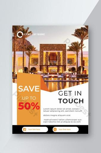 Modèle de flyer promotionnel de réservation d'hôtel Modèle AI