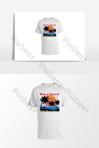 T Shirt For Sunset with surfboard, surf, palm tree, sunrise, sea, sea beach, birds, Blue PNG Images Template PSD