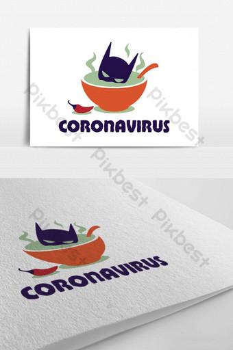 logotipo de advertencia de virus corona Modelo PSD