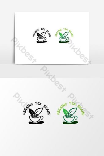 الشاي العضوي شعار ناقلات بابوا نيو غينيا للتحرير العلامة التجارية الطبيعية الخضراء صور PNG قالب AI