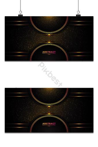 fondo abstracto oscuro capas superpuestas negras círculo dorado y línea brillante puntos brillantes Fondos Modelo AI