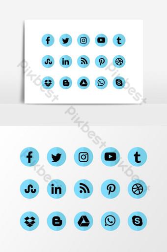 redes sociales vector azul negro icono png transparente web editable Elementos graficos Modelo AI