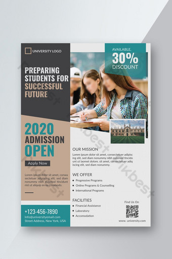 Conception de modèle de flyer d'admission à l'université d'éducation créative Modèle AI