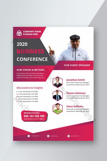 Conception de modèle de flyer de conférence commerciale Affiche de conférence Modèle AI