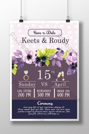 plantilla de cartel de itinerario de boda floral púrpura Modelo PSD