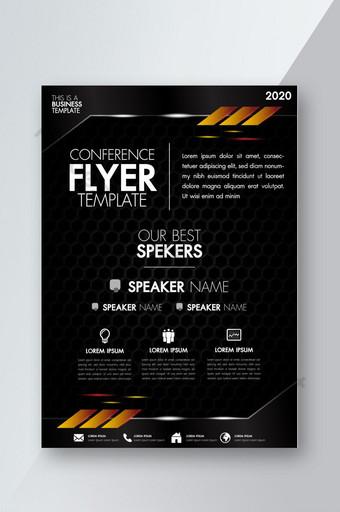 Modèle de conception de mise en page brochure flyer noir avec éléments graphiques métalliques et d'éclairage Modèle AI