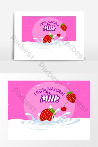 diseño publicitario impresionante y creativo para elemento gráfico de banner de jugo de marketing de leche Elementos graficos Modelo EPS