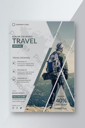 Conception de modèle de flyer de promotion de voyage de style géométrique Modèle AI