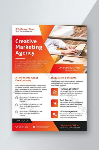 Agencia de marketing creativo diseño de volante de color naranja y rojo corporativo abstracto Modelo AI
