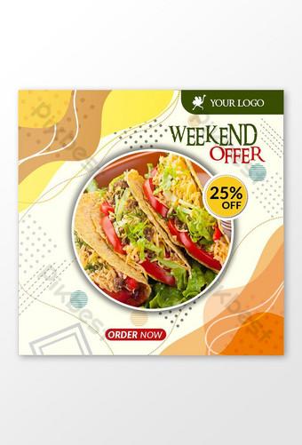 publicación de redes sociales de comida de restaurante o plantilla de banner cuadrado psd Modelo PSD