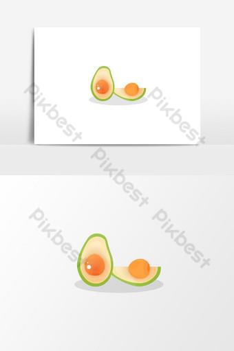 الأفوكادو الأخضر الفاكهة الطازجة مع الزجاج تأثير التألق ناقلات الغذاء صور PNG قالب EPS