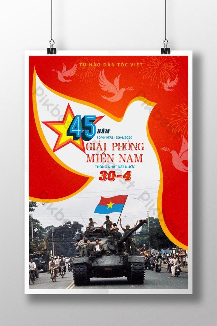 poster 45 năm giải phóng miền nam thống nhất đất nước 30/4