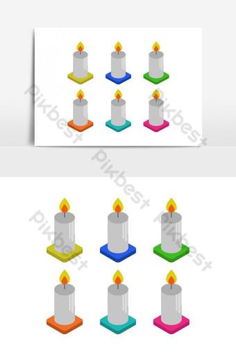 изометрическая свеча, иллюстрированная в векторе на белом фоне Графические элементы шаблон EPS