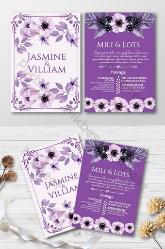 Modèles de cartes d'invitation blanc violet Modèle PSD