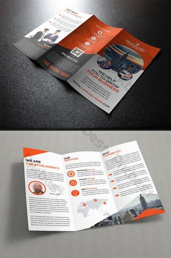 تصميم كتيب ثلاثي أضعاف الأعمال قالب PSD