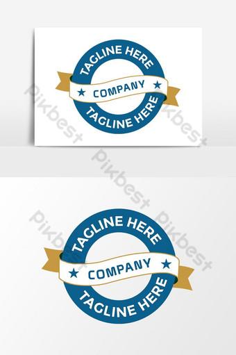Plantilla de elementos gráficos de diseño de logotipo vectorial azul de empresa de forma de círculo vintage Elementos graficos Modelo AI