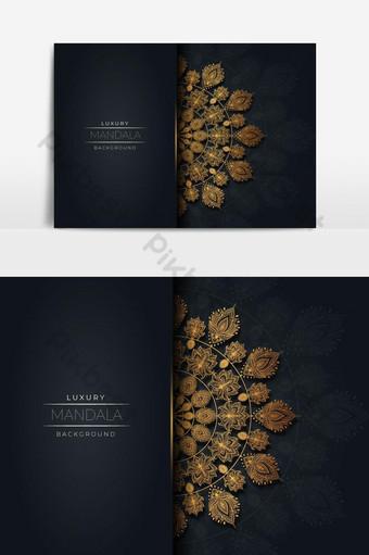 diseño de mandala de lujo con vector dorado Elementos graficos Modelo EPS