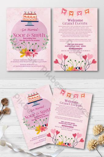 زفاف سعيد قالب بطاقة دعوة الأزهار قالب PSD