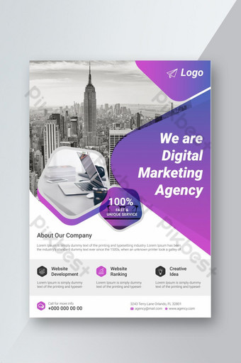 Modèle d'affiche Corporate Business Flyer avec mise en page de conception de couverture Brochure couleur dégradé Modèle EPS